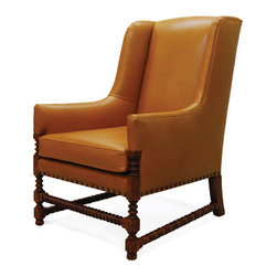 Leather chair - Custom leather arm chair with turned legs and stretchers extremely comfortable, perfect by a fireplace melt  down into this chair and read your favorite book in a den or study
