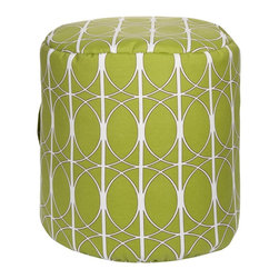 Surya - Surya Round Pouf X-701-FUOP - This durable indoor/outdoor round pouf is the perfect accent piece to your patio or yard. This pouf sports a trendy bold pattern on a bright celery green background.