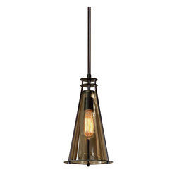 Uttermost Frisco 1 Lt Black Metal Mini Pendant - Plated cognac tinted glass accented with rustic black metal details. 40 watt antiqued style bulb included. Plated cognac tinted glass accented with rustic black metal details. 40 watt antiqued style bulb included.