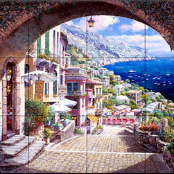 The Tile Mural Store (USA) - Tile Mural - Archway Positano P1570  1 - Kitchen Backsplash Ideas - This beautiful artwork by Sam Park has been digitally reproduced for tiles and depicts a nice waterview and street scene through an arch.  This street scene tile mural would be perfect as part of your kitchen backsplash tile project or your tub and shower surround bathroom tile project. Street scenes images on tiles add a unique element to your tiling project and are a great kitchen backsplash idea. Use a street scene tile mural, perhaps a Tuscan theme tile mural, for a wall tile project in any room in your home where you want to add interesting wall tile.