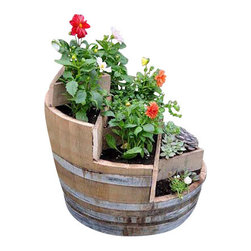 "Master Garden Products - Multi-Tiers Barrel Planter with 3 Triangle Beds, Lacquer Finished, 26""W x 35""H - These unique multi-tiers barrel planters will become the center piece of your garden. 2 Cedar wood triangle beds creates different planting dimensions. We use authentic oak wood wine barrels with quality and value in mind. Unlike whiskey barrels, classic wine barrels are better built, and wrapped with three galvanized steel bands to prevent rust which are frequently seen in whiskey barrels. Unlike most retailers, we drilled drainage holes on the bottoms of the barrel planters. Lacquer finish for extra protection."