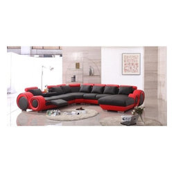 TOSH Furniture - Leather Sectional Sofa / Recliner - TOS-LF-4089-LT-BLK/RED - Modern sectional sofa