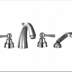 Aquabrass - Aquabrass - BD218 F-Blu 4 Piece Deckmount Tub Filler - ABFBBD218BN - W/Handshower & Lever Handles