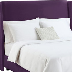 Skyline Furniture - Modern Wingback Velvet Upholstered Headboard - 431FVPECOK - Shop for Headboards and Footboards from Hayneedle.com! Create a unique style statement with the Wingback Upholstered Headboard. This headboard is designed to be visually appealing and comfortable. Easy to assemble it conveniently attaches to most standard metal bed frames. A plush 100-percent velvet cover handmade tufts and stylish wings lend a tasteful appeal to this upholstered headboard. Handmade in America it requires spot cleaning only. The headboard is available in sizes like full king queen and California king.Headboard Dimensions:Full: 60W x 10D x 54H inchesQueen: 66W x 10D x 51H inchesKing: 82W x 10D x 54H inchesCalifornia King: 78W x 10D x 54H inches