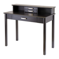 Winsome - Liso 2pc Home Office Set - Writing Desk with Hutch - Create work station with Liso Modular Collection. This set comes with Writing Desk 42 in. L x 20.5 in. D x 31.1 in. H and Desk Hutch with two drawers 42 in. L x 7.7 in. W x 5.9 in. H. Made of Wood in dark Espresso finish. Assembly required.