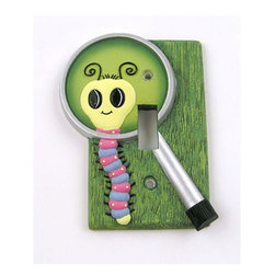 York Wallcoverings - Dont Bug Me Single Toggle Caterpillar Lightswitch Plate - FEATURES: