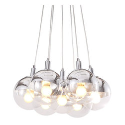 Zuo Modern - Zuo Modern Time Ceiling Lamp in Chrome - Ceiling Lamp in Chrome belongs to Time Collection by Zuo Modern Half chrome, half glass, the Time ceiling lamp is the perfect blend of the two. The lamp comes with seven 40W bulbs and is UL approved. Lamp (1)