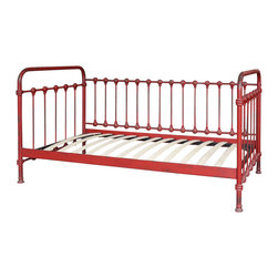Marco Polo Imports - Cosette Iron Day Bed - Drawing inspiration from early French and American architecture, this charming day bed combines modern functionality with a vintage design for a found appeal that is as striking as it is livable.  Made from solid cast iron in an antique red finish.
