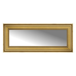 """Posters 2 Prints, LLC - 42"""" x 18"""" Arqadia Gold Traditional Custom Framed Mirror - 42"""" x 18"""" Custom Framed Mirror made by Posters 2 Prints. Standard glass with unrivaled selection of crafted mirror frames.  Protected with category II safety backing to keep glass fragments together should the mirror be accidentally broken.  Safe arrival guaranteed.  Made in the United States of America"""
