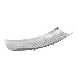 Thin Banded Steel Tray - This thin banded steel tray has a gorgeous curvature. Laser-cut from a single piece of stainless steel, it is a statement piece that will instantly lift your decor.