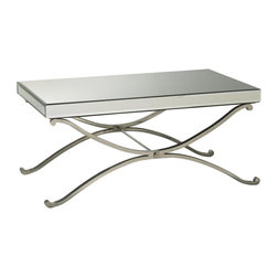 Cyan Design - Cyan Design Vogue Mirrored Coffee Table - From the Vogue Collection, this Cyan Design mirrored coffee table features a simple rectangular top with mirrored detailing on every side and the top. The base features gentle, fluid curvature that meets in the middle, adding contemporary appeal to the design.