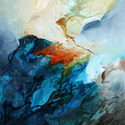 """Title """"Fusion"""" Abstract Blue 30""""X36"""" By Mavis - This is an original painting on stretched canvas 30in x 36in, signed and dated by the artist."""