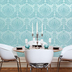 Large Corsini Damask Stencil - Large Corsini Damask Wall Stencil from Royal Design Studio Stencils. This sea blue hand painted pattern brings glamour to this modern dining room. This mediterranean stencil can be done allover or on an accent wall. It works in bedrooms, dining rooms and powder rooms.