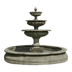Campania - Estate Longvue Outdoor Water Fountain - The Estate Longvue Fountain is an exciting and wonderfully elegant water feature for your garden setting. Water bubbles up from a small finial, spilling over three tiered bowls before reaching its destination in the grand pond below. This exciting piece will give your garden a sultry, sensual appeal while creating an intriguing focal point for your favorite decor.