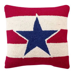 Peking Handicraft - Amercian Star Hooked Pillow - Bring a taste of Americana to your decor ��� indoors or out ��� with this charming pillow! A bold color palette and pattern make this tasteful Phil design a ���must-have� for any home ��� try it in a sun room or on the front porch. The front is crafted from hand-hooked, 100% wool, while the back is made of durable cotton velveteen. One pull of the sturdy zipper reveals a plush poly-fill insert. These make wonderful gifts!