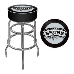 Trademark Global - San Antonio Spurs NBA Padded Swivel Bar Stool - Officially Licensed Art. Reverse Printed on Commercial Plastic to Protect Logo from Wear. Luxurious Foam Padding. .25 inch Vinyl Beading Marrying the Top and Side for Added Strength. Marine Grade Vinyl Sides. Chrome Plated Double Rung Base. Seat Dimensions: 14 x 14 x 5 inches. Overall Dimensions: 20 x 20 x 31 inchesThis officially licensed chrome bar stool will provide you and your guests with a comfortable seat as well as a stylish accent to your game room, garage or collection. The stool's seat features an authentic logo highlighted by durable marine grade vinyl sides trimmed with quarter inch vinyl beading. The seat also includes luxurious foam padding and a 360 degree swivel. Chrome double rung reinforced legs are made of tubular steel that is both lightweight and supportive. Bring style, function and comfort to your game room, garage or collection with an officially licensed chrome bar stool.