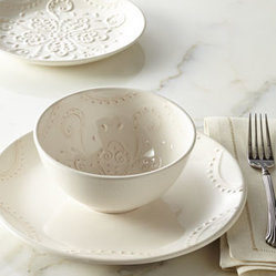 "Horchow - 12-Piece ""Paisley"" Dinnerware Service - Simple yet elegant, this creamy dinnerware features an embossed, traditional paisley pattern on the salad plates and bowl interiors with a beaded scallop design rimming the dinner plates. Handcrafted of earthenware. Hand painted. Dishwasher and micro..."