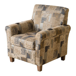 Great Deal Furniture - Lucinda Fabric Club Chair, Animal Print - The Lucinda Club Chair is a great piece for any room in your home. The rounded frame and cushion design offers a modern touch of class while still retaining all of the comfort benefits of a club chair. With an innovative look and attention to detail this chair is a perfect blend of form and function.