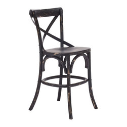 "Zuo - ""Zuo Union Square Counter Chair, Antique Black"" - ""Modeled after the most popular cafe chair in Europe, our versatile X-back counter chair comes in natural, antique black, and antique white. Frame is solid wood with antique metal accents. Dimensions (W x L x H): 18"""" x 20"""" x 38.9""""Seat Height: 24""""Seat Depth: 16.5""""Seat Width: 17.7""""Cubic Feet: 10.24Weight: 13.9 lbsMaximum Weight Capacity: 330.7 lbsProduct Cover: MetalProduct Material: Elm WoodAssembly Required: No"""