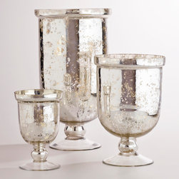 Silver Mercury Glass Hurricane Holders - I would love to use two of the medium mercury glass hurricanes to flank the kitchen sink window with two baby Christmas trees. Oh, that would be perfect!