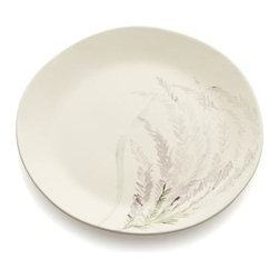 Wildflower Heather Plate - Mimi Robinson's delicately painted wildflowers grace white stoneware plates, capturing their graceful appearance in soft tones. The perfect size for dessert or sandwiches, or as a component in a nature-inspired table setting.