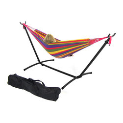 Sunnydaze Decor - Red/Yellow Double Brazilian Hammock & Stand Combos, Rainbow - Install and move your hammock easily with a lightweight hammock stand.  This combination kit includes, a cotton weave hammock, a steel tube stand, and a carrying case for camping or traveling.
