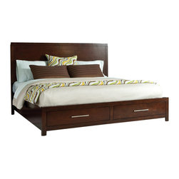 Standard Furniture - Standard Furniture Metro 5-Piece Platform Bedroom Set in Dark Merlot - Metro is a stalwart Contemporary style that emphasizes a weighty linear character, clean square case profiles and a substantial blocked case framing design feature.