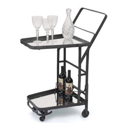 Uptown Bar Cart - Featuring a perfect Blackened finish, this striking Uptown Bar Cart showcases a solid-iron frame, convenient casters and mirrored racks for bottles and beverages. Make this bar-on-the-go a tasteful addition during cocktail parties which will grab most of the eyeballs.