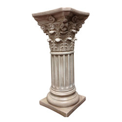 Casa de Arti - Classic Statuary Wide Corinthian Pedestal Column Home Decore Art - Beautiful Corinthian Style pedestal perfect for you home or garden decor at an amazing price!
