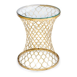 Kathy Kuo Home - Bogart Hollywood Regency Glass/Gold Leaf Metal Round End Table - A glamorous home is no stretch of the imagination with this end table in your living room. Gold leaf quatrefoils on this elongated beauty have the last word in elegance, so put this next to your divan and take pleasure in artful design.