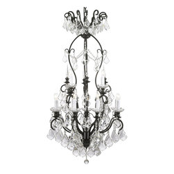 """The Gallery - Swarovski crystalrimmed chandelier - Wrought Iron Crystal chandelier Chandelie - This beautiful chandelier is trimmed with Sprectra crystal reliable crystal by Swarovski. Swarovski is the world's leading manufacturer of high quality crystal. Sprectra crystal Swarovski undergoes stringent quality control and offers the best crystal uniformity of sparkle, light reflection and Sprectral colors. A Great European Tradition. Nothing is quite as elegant as the fine crystal chandeliers that gave sparkle to brilliant evenings at palaces and manor houses across Europe. This beautifully unique version from the Versailles Collection has 100% crystalhat capture and brilliantly reflect the light of the candle bulbs. The frame is all wrought iron, adding the finishing touch to a wonderful fixture. The timeless elegance of this chandelier is sure to lend a special atmosphere anywhere its placed! Assembly Required. Size: H50""""W30 13 LIGHTS. This item also works with energy efficient bulbs, halogen bulbs, compact fluorescent bulbs, LED bulbs etc (not included)."""