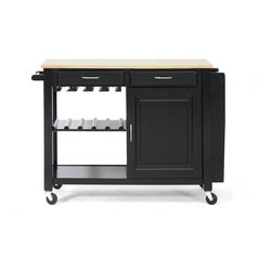 Wholesale Interiors - Phoenix Black Modern Kitchen Island with Wooden Top - Boasting outstanding storage capacity, our Phoenix black modern Kitchen Island with Wooden Top is a dynamic entertaining accessory. Wine glasses, plates, bottles and more all fit neatly on the sides or underneath the natural-finish wooden top. Locking wheels make transport a breeze. black wooden frame, satin nickel hardware and natural wood combine for terrific style. This discount-furniture item offers top performance without a hefty price.