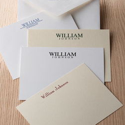 Carlson Craft - Carlson Craft 25 Cards with Personalized Envelopes - Make a bold statement with these classic vellum cards available in your choice of Ecru or White. USA made. Card personalization is one line up to up to 18 characters/spaces. For envelope flap personalization, specify two-line address up to 30 characte...