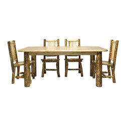 "Montana Woodworks - Montana Woodworks 5 Piece 4-Post Dining Room Set in Glacier Country - Treat your family to this classic four post dining table. Handcrafted using solid, American grown wood, this table is designed for years of practical use while adding to the beauty of your dining room. The table top is made of solid wood, edge glued panels for a stable surface that will not warp or crack. The legs of solid lodgepole pine are strong and sturdy. Consider our log dining and captains chairs (sold separately) to complete your rustic dining set. Table top height is 30"". Finished in the ""Glacier Country"" collection style for a truly unique, one-of-a-kind look reminiscent of the Grand Lodges of the Rockies, circa 1900. First we remove the outer bark while leaving the inner, cambium layer intact for texture and contrast. Then the finish is completed in an eight step, professional spraying process that applies stain and lacquer for a beautiful, long lasting finish. Some assembly required. 20-year warranty included at no additional charge."