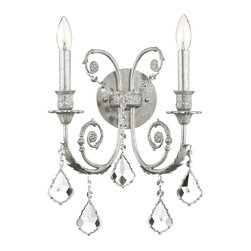 Crystorama - Olde Silver Wall Sconce Adorned with Clear Crystal (Spectra) - Choose Crystal Type: Spectra