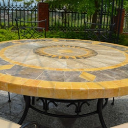 """ROUND MARBLE MOSAIC PATIO TABLE 49"""" OR 63""""-FLORIDA - Reference: OT911-12-US+OTB2-12-US"""