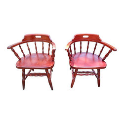 n/a - Consigned - Vintage Captain Arm Chairs (Set of 4) - Set of four (4) vintage maple captain chairs.  Sometimes called saloon chairs.  Made of hard rock maple and stained in a reddish mahogany color, but can be painted any color.  Some pain wear due to age and use, but very strong and sturdy.
