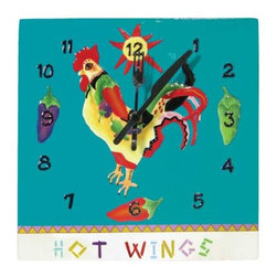 WL - 9 Inch Hot Wings Decorated Collectible Rooster Figurine Wall Clock - animal clock, bird clock, chicken clock, rooster clock, blue clock, hand crafted, kitchen decor, kitchen clock