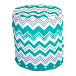 Majestic Home - Outdoor Pacific Zazzle Small Pouf - Add comfort and flare to any room with Majestic Home Goods Indoor/Outdoor Small Pouf Ottomans. These small poufs can be used as a foot stool, side table or as extra seating in your home or backyard. The beanbag inserts are eco-friendly by using up to 50% recycled polystyrene beads. The removable zippered slipcovers are woven from Outdoor Treated polyester with up to 1000 hours of U.V. protection, and are machine-washable.