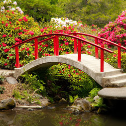 Murals Your Way - Footbridge and Flowers, Kubota Garden Wall Art - Photographed by Stephen  Matera, Footbridge and Flowers, Kubota Garden wall mural from Murals Your Way will add a distinctive touch to any room