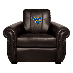 Dreamseat Inc. - West Virginia University NCAA Chesapeake Black Leather Arm Chair - Check out this Awesome Arm Chair. It's the ultimate in traditional styled home leather furniture, and it's one of the coolest things we've ever seen. This is unbelievably comfortable - once you're in it, you won't want to get up. Features a zip-in-zip-out logo panel embroidered with 70,000 stitches. Converts from a solid color to custom-logo furniture in seconds - perfect for a shared or multi-purpose room. Root for several teams? Simply swap the panels out when the seasons change. This is a true statement piece that is perfect for your Man Cave, Game Room, basement or garage.