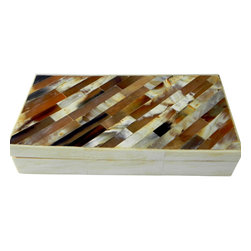 Horn Diagonal Chip Box - Horn marquetry set on a diagonal for a modern and clean look. Colors of coffee, beige and creams. Beautiful piece for an office, jewelry, or even the remote. Collectible and one-of-a-kind item.