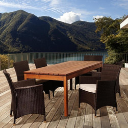 Amazonia - Bianca 7-piece Wood/ Wicker Outdoor Dining Set - The Bianca 7-piece outdoor dining set,including one rectangular table and six chairs,was crafted bearing leisure in mind. Constructed of solid eucalyptus wood,this set is weather resistant and UV protected making it suitable for all year round use.