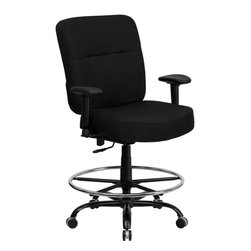 Flash Furniture - Hercules Series Big & Tall Drafting Stool with Arms and Extra Wide Seat - This drafting chair has been tested to hold up to 400 lbs.! Not only will this chair hold the above average person, but it is amazingly comfortable. Chair will appeal for users of all heights and weights because of its comfort and sturdy construction. Chair has several adjustable functionalities so users can achieve their custom fit. The height adjustable arms are an added bonus to add to the appeal of this chair.