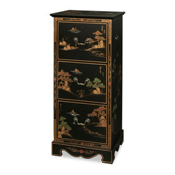 China Furniture and Arts - Chinoiserie Scenery Design File Cabinet - Serene Chinese landscape carved in gold Chinoiserie on rich matte black finish, this exquisite file cabinet is precisely constructed with three felt-lined letter-size drawers. Brass handles and hardware.
