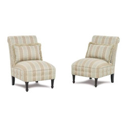Hopewell Chair - These are fun little slipper chairs. I think they would look better in a solid fabric, sans pillows.