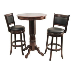 "Boraam - Augusta Three Piece Pub Set in Cappuccino - Features: -Pub Table. -Florence Collection. -Solid hardwood construction in cappuccino finish. -Classic pub-style pub table. -Frame features claw feet. -Floor protectors prevent scratches. -Dimensions: 42"" H x 30"" W x 30"" D. Stool Features: -Stool. -Augusta Collection. -Solid hardwood construction in cappuccino finish. -Black faux leather seat with high density foam. -Steel ball bearing. -Swivel for durability. -French leg with tampered bottoms. -Full ring footrest for strength and stability. -Dimensions: 38"" H x 22"" W x 19"" D."