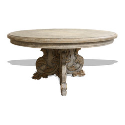 Elements Wood Round Dining Table, Weathered Creams and Hints of Grey with Gold L - Elements Round Dining Table, Turquoise with Amaryllis and Espresso