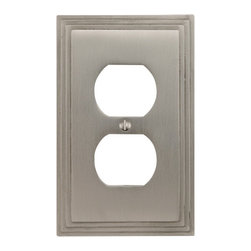 Solid Brass Deco Design Duplex Outlet Cover - An excellent choice for both contemporary or traditional style homes, this duplex outlet cover features an elegant Art Deco design.