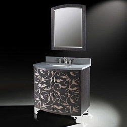 "Luxe Bath Works - Clarendon Collection 36"" Bathroom Vanity B7044BV36-X561 - The two-toned marquetry veneer of the Clarendon collection offers a bold contrast to the chrome plated decorative feet. With a large internal drawer, this 36"" vanity has great storage, striking design, and will fit in nearly any bath."